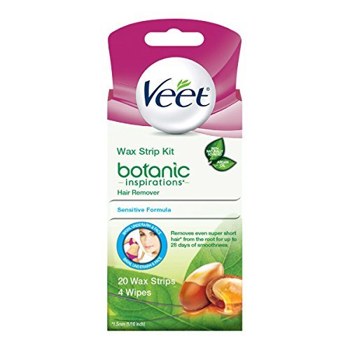Veet Ready-To-Use Wax Strip Hair Remover Kit for Bikini Underarm and Face, 20 Count (Pack of 2)