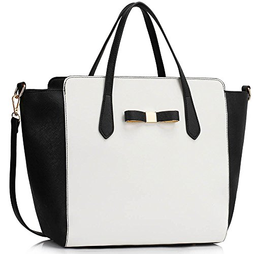 TrendStar - Bolso de tela para mujer negro D - Black/White Negro/Blanco Bolso