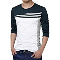 Allegra K Men Color Block Stripes T-Shirt