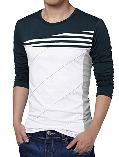 Allegra K Men Long Sleeves Color Block Stripes Tee Shirt Blue White (Stripe T-shirt)
