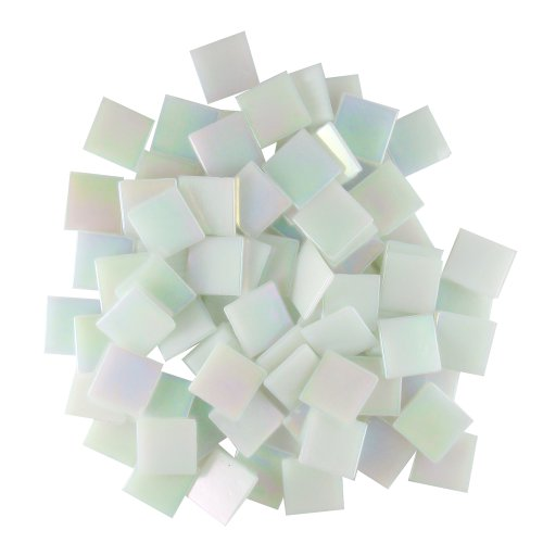 Jennifer's Mosaics White 3/4-Inch Iridized Venetian Style Glass Mosaic Tile, 8-Ounce