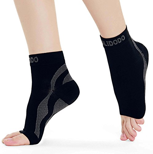 Price comparison product image Plantar Fasciitis Socks Compression Foot Sleeve with Arch & Ankle Support for Men & Women Relive Pains for Heels & Improves Circulation for Better Foot Health (Black & Gray, 1 Pair)