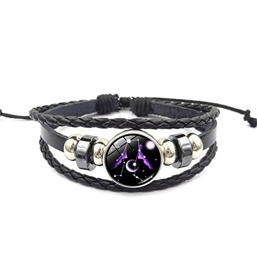 Fashion 12 Constellations Beaded Hand Woven Leather Bracelet And Moon Pendant Necklace Zodiac Sign Jewelry Set (Hand Woven Leather)