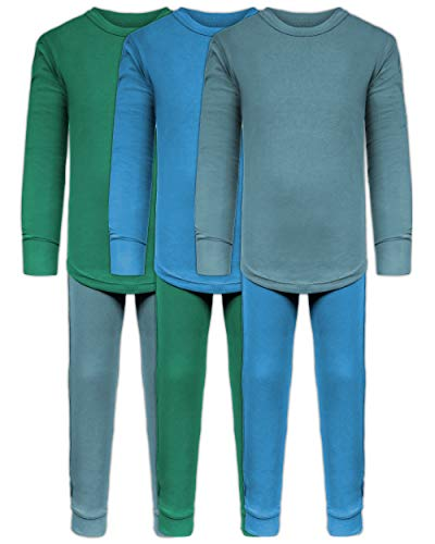 Boys Long John Ultra-Soft Cotton Stretch Base Layer Underwear Sets / 3 Long Sleeve Tops + 3 Long Pants - 6 Piece Mix & Match (3 Sets / 6 Pc - Evergreen/Blue/Arctic, 16/18) (Best Base Layer For Kids)