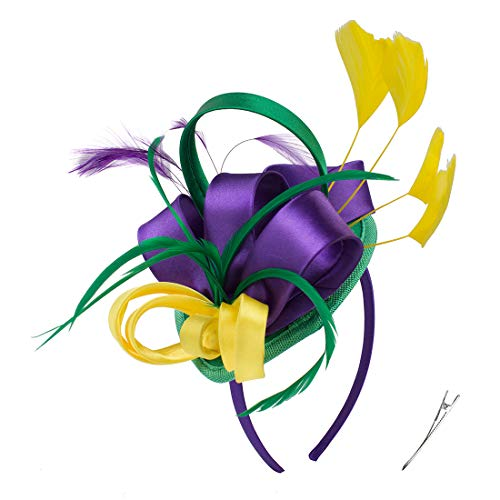 Felizhouse Fascinator Hats for Women Ladies Feather Cocktail Party Hats Bridal Headpieces Kentucky Derby Ascot Fascinator Headband (#1 Satin Mardi Gras)