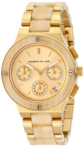 Horn Link Bracelet Watch - Kenneth Jay Lane Women's 2141 2100 Series Gold Ion-Plated and Horn Resin Bracelet Watch