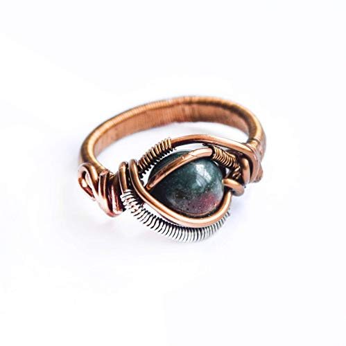 (Handmade Raw Natural Bloodstone Ring - Men's and Women's Crystal Flow Jewelry | March Birthstone)