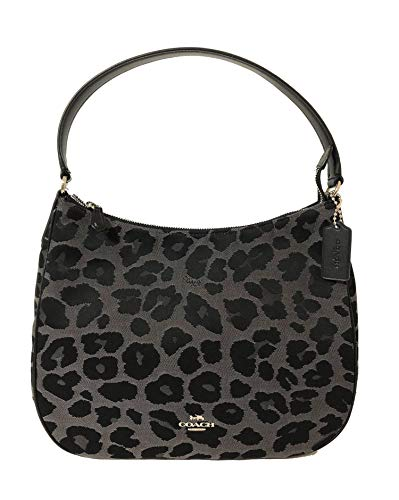 (Coach Signature Zip Shoulder Bag (SV/Grey Leopard))