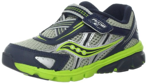 Saucony Boys Baby Ride 6 Running Shoe ,Navy/Silver/Lime,4 XW