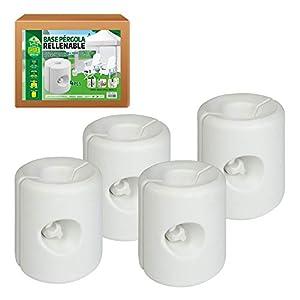 AKTIVE 62201 – Pack 4 soportes blancos para carpas 25x25x25 cm AKTIVE Garden