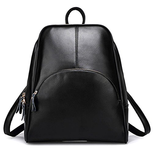 Backpack for ELOMBR Casual Women's Bag Purse Girls Pu Bag School Shoulder Black Ladies Leather 5w6PBwUq