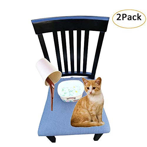 Waterproof Dining Chair Cover Protector - Pack 2 - Perfect for Pets, Kids, Elderly, Restaurants, Party - Machine Washable, Snugly Fit, Removable, Clean The Mess Easily (Greyblue with Buttons) (Chair Armed Dining)