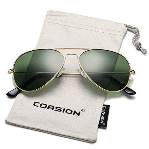 G15 Lens Sunglasses - COASION Classic Polarized Aviator Sunglasses for Men Women Mirrored UV400 Protection Lens Metal Frame (Gold Frame/G15 Lens)