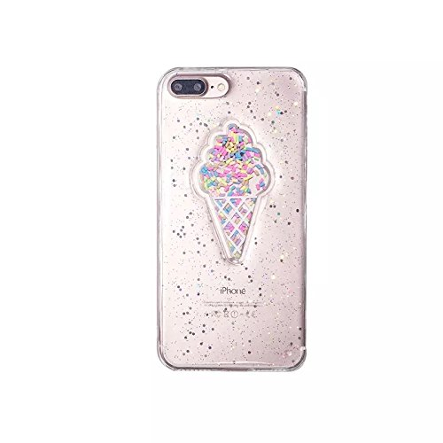 iPhone 8/iPhone 7 Case(4.7inch),Blingy's Glitter Ice Cream with Sprinkles Rubber TPU Case for iPhone 8/iPhone 7 (Clear Ice Cream)