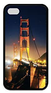 Golden Gate At Night 2 TPU Case Cover Protector Compatible with iPhone 4/4S Black