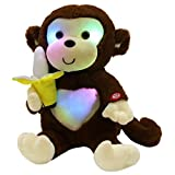 WEWILL LED Cute Monkey Stuffed Animal Creative Glow Soft Plush Toys with Banana in Hand Nightlight Bedtime Birthday Gift, Brown, 12.5 inch