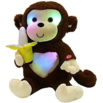 WEWILL LED Cute Monkey Stuffed Animal Creative Glow Soft Plush Toys with a  Banana in Hand 182342c03