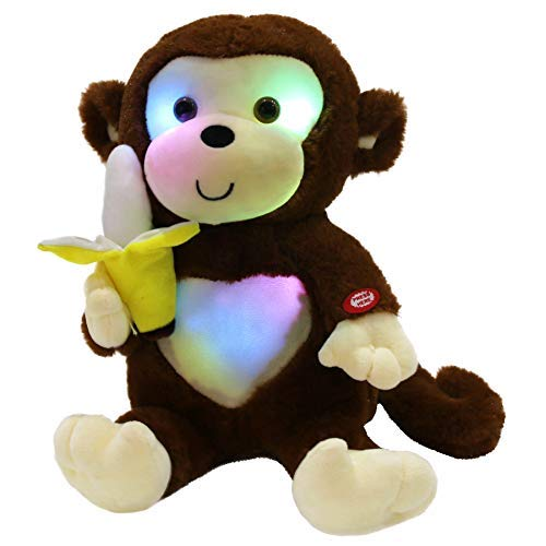 Cute Little Monkey - WEWILL LED Cute Monkey Stuffed Animal Creative Glow Soft Plush Toys with Banana in Hand Nightlight Bedtime Birthday Gift, Brown, 12.5 inch