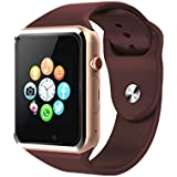 Bluetooth Smartwatch,Smart Watch Unlocked Watch Phone can Call and Text with TouchScreen Camera Notification Sync for Android SumSung Huawei and IOS iPhone 7 8 X(Gold)
