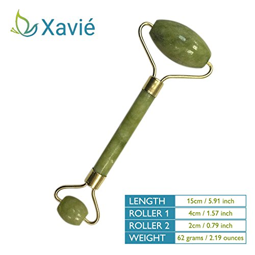 Best Jade Roller For Face - Massager Slimming Tool Roller Anti Aging Therapy Wrinkle Cellulite Green Jade Chinese Facial Therapy 100% Natural Double Neck Healing Slimming Premium Quality in Gift (Jade Rope)