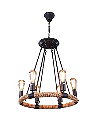 Parrot Uncle 6 Lights Rustic Style Hemp Rope Pendant Lights Fixture with Matte Black Iron Hook