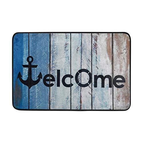 Summer Beach Nautical Anchor Welcome Doormat Indoor Outdoor Mat Non Slip Polyester for Door Kitchen Bedroom Garden,15.7''x23.6'' ()