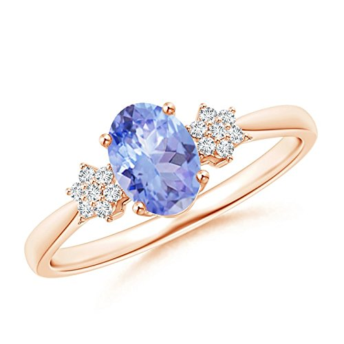 Tapered Oval Tanzanite Solitaire Ring with Diamond Clusters in 14K Rose Gold (7x5mm Tanzanite)