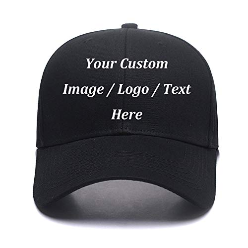 Custom Baseball Hat,Snapback.Design Your Own Adjustable Metal Strap Dad Cap Visors Black