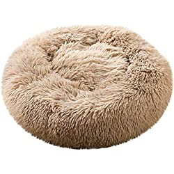 JQjian Dog and Cat Cushion Bed Orthopedic Dog Bed Round Deluxe Pet Beds Super Plush Dog & Cat Beds Ultra Soft Homes for Pets (L, Khaki)