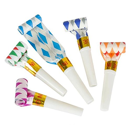 Bulk Toys Party Pack of 36 Musical Blow Outs, Birthday Party Favors, New Years Party Noisemakers 36 Party Blowouts Whistles, Party Blowouts, Fun Party Favors, Goody Bag Stuffers, Assorted (Blower Favors)