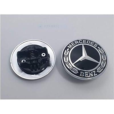 Guzetop Flat Hood Emblem Ornament Logo Black 57MM for Mercedes Benz C E SL Class: Automotive