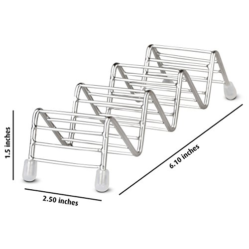 ORBLUE Taco Holder Set - Stainless Steel Taco Stand, Taco Rack Each Holds 3 to 4 Tacos, Sturdy Dishwasher Safe Taco Holders, 3-PACK