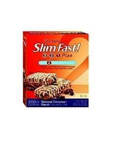 SlimFast 200 Calorie, Oatmeal Cinnamon Raisin, Meal Bar 5pk, 8.82-Ounce Boxes (Pack of 8)