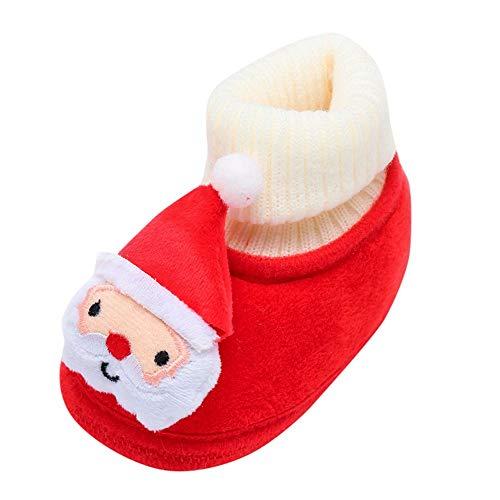Amiley Baby Slipper Girls,Baby Newborn Toddler Infant Christmas Cartoon Santa Claus Snowman Tree Starfish Floor Socks Slipper Shoes Boots (White, 6-12M) ()