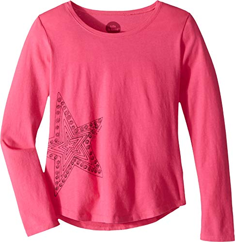 (Life is Good Girls Crusher Graphic Long Sleeve T-Shirts Collection,Star,Fiesta Pink,X-Large)