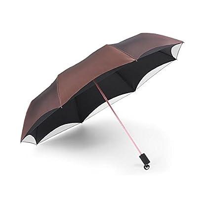 Paraguas plegable automatico Mujer niño Hombre an- Tres sombrillas Plegables para Mejorar la protección UV