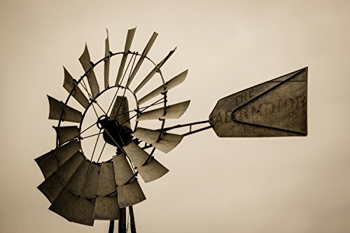 Windmill Fine Art Print - Sepia Toned Photograph of Windmill Head Farm Decor Country Wall Art 5x7 to 30x45 by Southern Plains Photography