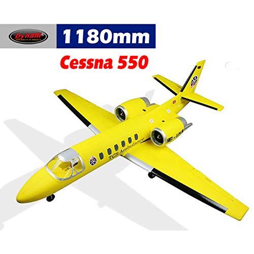 Twin Engine Rc Airplane - DYNAM RC Airplane Cessna 550 Turbo Jet Yellow Twin 64mm EDF - BNP