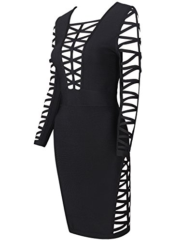 Negro Rayon out amp; Mujers Bandage Alice Club Mujer Elmer Long Vestido Party para Vestido Cut Dress Bodycon Sleeve d0fWnS4xn
