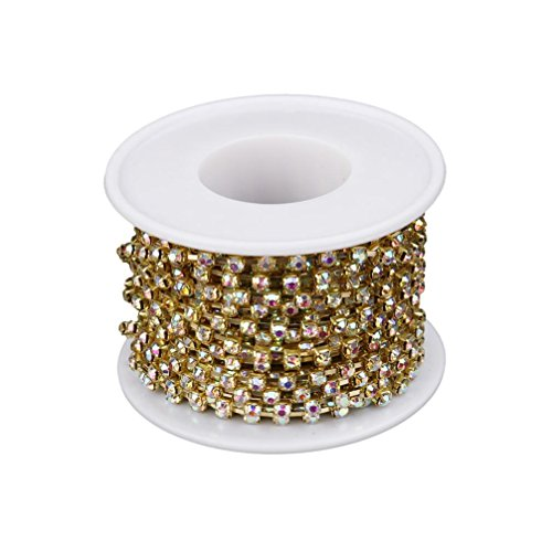 (Transer Diamond Sparkling Rhinestone Crystal Gold Plating Chain, Wedding Ribbon, Cellphone Case, Shoes, Headband, Hairpin, Photo Frame, Cake Decoration, 10 Yards (C - Dia. 3mm))