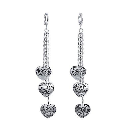 3 Dangling Heart - XZP Fashion Heart CZ Drop Earrings Sterling Silver Plated Long Tassel Dangle Earrings For Women Girls