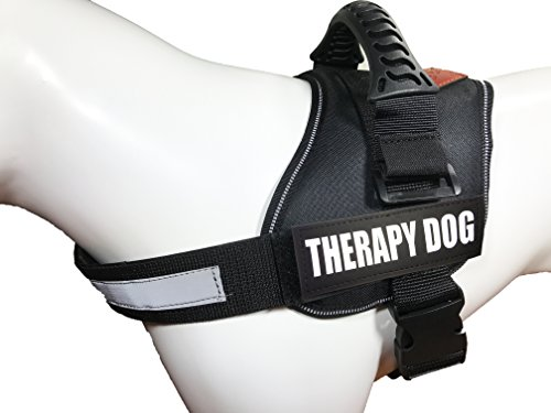 ALBCORP Reflective Therapy Dog Vest Harness, Woven Polyester & Nylon, Adjustable Service Animal Jacket, with 2 Hook and Loop Therapy Dog Removable Patches, Large, Black