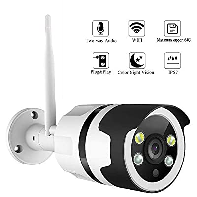 Color Night Vision IP Camera, WiFi Wireless Security Camera Surveillance Bullet Outdoor WiFi Camera Waterproof IP67,Two-Way Audio,HD 1080P,Motion Detect,Email Alert,Micro SD,Card/Onvif NVR Storage