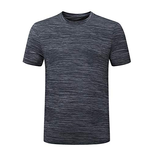 Men's Quick-Dry Tops Slim Fit Stretch Crew Neck Summer T Shirts Casual Breathable Lightweight Undershirts Tee Gray