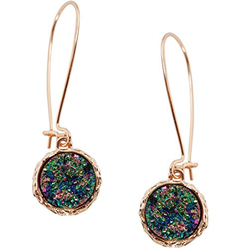 Humble Chic Simulated Druzy Threaders - Upside-Down Long Hoop Dangle Drop Earrings for Women, Iridescent, Dark Blue, Metallic, Gold-Tone -