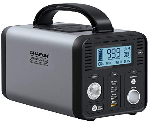 CHAFON Portable Power Station CF290,296WH Lithium Battery Backup,110V 330W Pure Sine Wave AC Outlet,Solar Generator