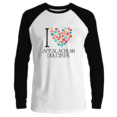 Idakoos I Love Appalachian Dulcimer Colorful Hearts Raglan Long Sleeve T-Shirt