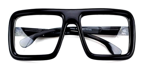 Large Retro-nerd Bold Thick Square Frame Clear Lens Glasses (Glossy - Bold Frame Glasses