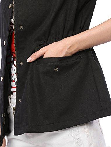 Solapa Chaqueta Cintura con Cordón Negro Mujer La para Militar De Bolsillos K Allegra qUR54OwXn