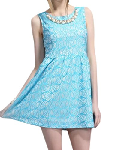 Printed Coolred Classy Women Crewneck Coolred Women Sundress Flower Sleeveless Blue Flower rq7FXqw